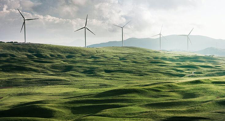 Five Wind Turbines on a Hill